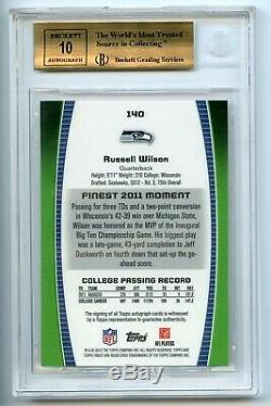 POP1 2012 Topps Finest Rc Auto Red Refractor Russell Wilson BGS 10/10 PRISTINE
