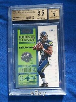 RUSSELL WILSON 2012 CONTENDERS /550 Rookie Autograph BGS 9.5 Auto Seahawks RC