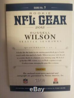 RUSSELL WILSON 2012 National Treasures Triple Patch Rookie Auto Prime 22/25