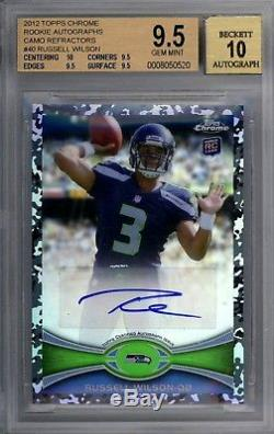 RUSSELL WILSON 2012 Topps Chrome CAMO REFRACTOR RC Auto Autograph /105 BGS 9.5