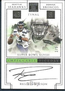 RUSSELL WILSON 2017 Panini Impeccable Victory Autograph #'d /5 Auto Seahawks
