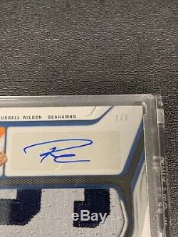 RUSSELL WILSON 2019 Certified Fabric Of The Game Jersey Letter Patch Auto 1/5