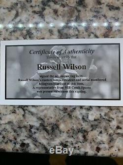 RUSSELL WILSON AUTO SIGNED SEAHAWKS FULL SIZE AUTH SPEED HELMET RW Hologram COA