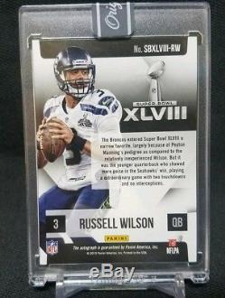 RUSSELL WILSON Panini Super Bowl Signatures SSP Auto Seahawks 2016 Honors NICE
