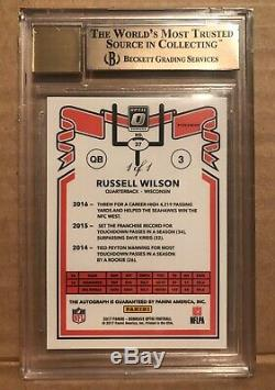 Russell Wilson 1/1 Auto 2017 Donruss Optic 9.5/10 Seattle Seahawks