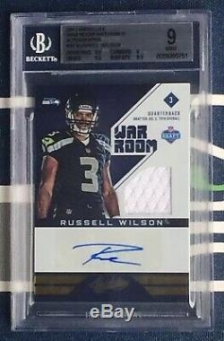 Russell Wilson 2012 Absolute War Room Jersey Auto #30 Rookie RC #/49 BGS 9 10 AU