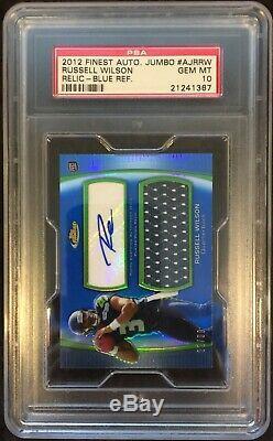 Russell Wilson 2012 Finest Jumbo Jsy Auto Blue Ref 22/99 #ajr-rw Psa Gem Mint 10
