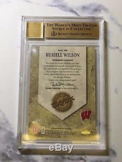 Russell Wilson 2012 Fleer Retro Autographics #99au-rw Bgs 9.5 Auto 10 Rookie Rc