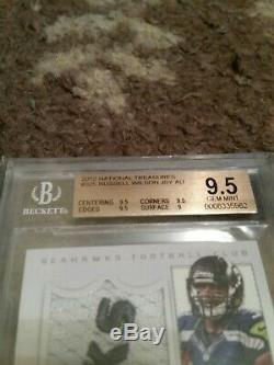 Russell Wilson 2012 National Treasures 59/99 ROOKIE PATCH AUTO RC BGS 9.5/9 RARE
