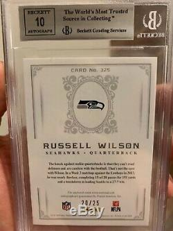 Russell Wilson 2012 National Treasures Black 20/25 ROOKIE PATCH AUTO RC BGS 9/10