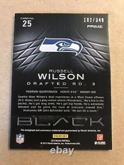 Russell Wilson 2012 Panini Black Autograph Auto Patch Rookie RC /349