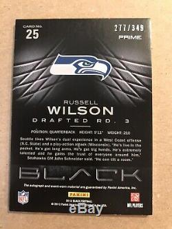 Russell Wilson 2012 Panini Black Patch Autograph Auto RC Rookie /349