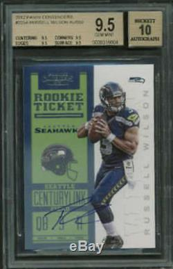 Russell Wilson 2012 Panini Contenders #225A Signed Rookie Card BGS 9.5 10 Auto