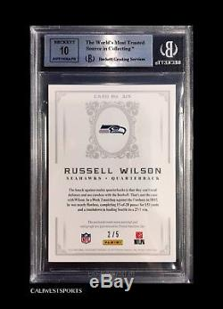 Russell Wilson 2012 Panini National Treasures Patch Auto Rc #d 2/5 Platinum Ssp