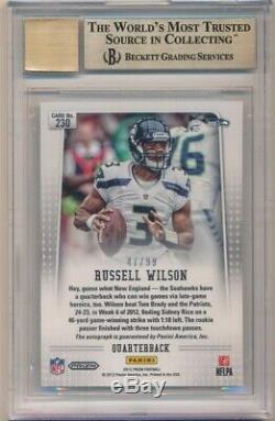 Russell Wilson 2012 Panini Prizm Rc Silver Prizms Auto Sp /99 Bgs 9.5 True Gem +