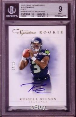 Russell Wilson 2012 Prime Signatures Gold Auto 17/25 Bgs 9 Mint