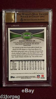 Russell Wilson 2012 Topps Chrome Auto Rookie Card BGS Pristine 10/10 Rare