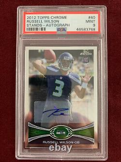 Russell Wilson 2012 Topps Chrome Auto Rookie Card RC PSA 9 Mint