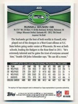 Russell Wilson 2012 Topps Chrome Rc Rookie Autograph Seattle Seahawks Auto Sp