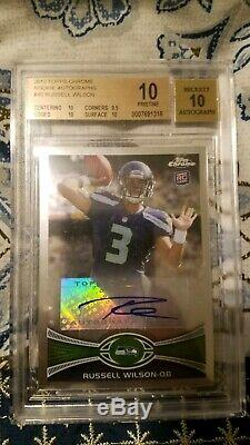 Russell Wilson 2012 Topps Chrome Rookie Auto Autograph Bgs 10 Pristine