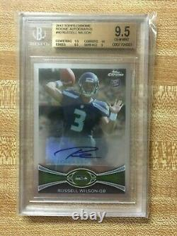 Russell Wilson 2012 Topps Chrome Rookie RC Auto #40 BGS 9.5 Gem Mint! 10 Auto