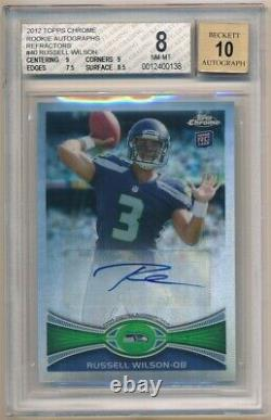 Russell Wilson 2012 Topps Chrome Rookie Refractor Auto Sp #/178 Bgs 8 Nm-mt 10