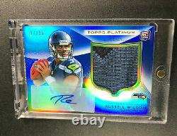 Russell Wilson 2012 Topps Platinum #138 Blue Refractor Patch Auto Rookie Rc /25