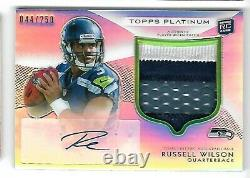 Russell Wilson 2012 Topps Platinum Rookie Auto Autograph Patch Rc Card