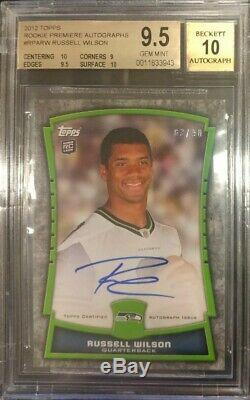 Russell Wilson 2012 Topps Rc Rookie Premiere Autograph Seahawks Auto /90 Bgs 9.5