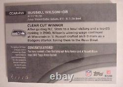 Russell Wilson 2012 Topps Strata Clear Rookie 3 Color Patch Autograph RPA /75