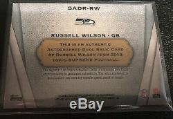 Russell Wilson 2012 Topps Supreme Auto RC/15 Dual Jersey Patch Seahawks Rookie