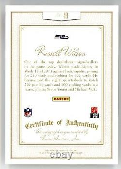 Russell Wilson 2014 Panini Flawless #49 Gold Auto Autograph /10 Seahawks