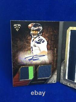 Russell Wilson 2014 Topps Triple Threads Booklet Auto Letter Dual Patch Ssp# 3/3