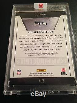 Russell Wilson 2015 Crown Royale Silhouettes Purple Auto 4/5 Autograph Rare