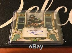 Russell Wilson 2015 Supreme Green Auto Autograph Quad Jersey Patch 3/5 D