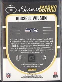 Russell Wilson 2016 Panini Donruss Signature Marks Auto Autograph 1/1 Seahawks
