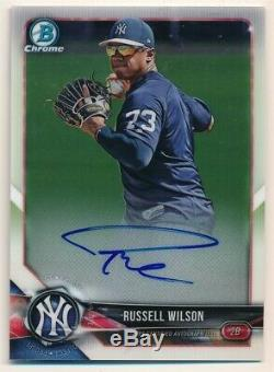 Russell Wilson 2018 Bowman Chrome Rc Rookie On Card Autograph Yankees Auto Sp