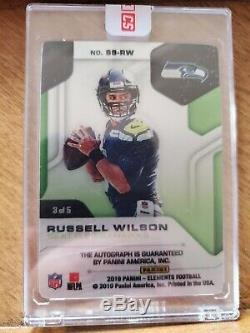 Russell Wilson 2019 Elements Gold Steel On Card Auto 3/5 SSP