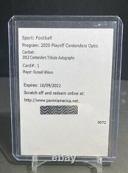Russell Wilson 2020 Contenders Optic 2012 Tribute Autographs Auto Redemption #1