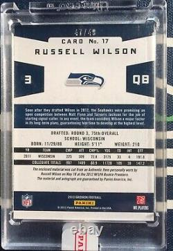 Russell Wilson #/49 2012 Gridiron Gems Rookie Auto RC 3x Patch Panini Encased