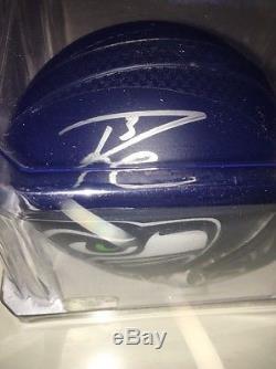 Russell Wilson Auto Autographed Football Mini Helmet Wilson Hologram (JSA PSA)