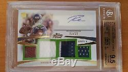 Russell Wilson Auto Rc 2012 Topps Prime Gold Quad Jersey Bgs 9.5/10 2/25 Hawks