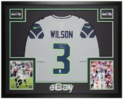 Russell Wilson Autographed & Framed Gray Seahawks Jersey Auto Wilson COA