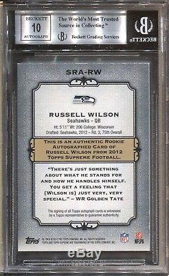 Russell Wilson Bgs 9 2012 Topps Supreme Rookie Auto Autograph Purple 21/25