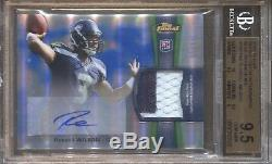 Russell Wilson Bgs 9.5 2012 Topps Finest Blue Refractor Patch Auto 3/99 Jersey #