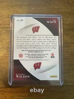 Russell Wilson JJ Watt Dual Immaculate Auto /5 Wisconsin