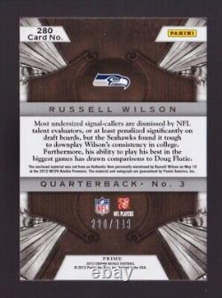 Russell Wilson Rookie Autograph Patch /349 2012 Panini Crown Royale #280 RC Auto