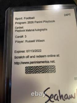 Russell Wilson Seahawks 2020 playbook patch/auto