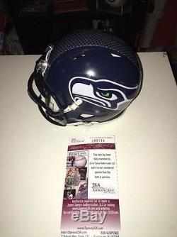 Russell Wilson Seahawks Auto Autographed Football Mini Helmet JSA Cert