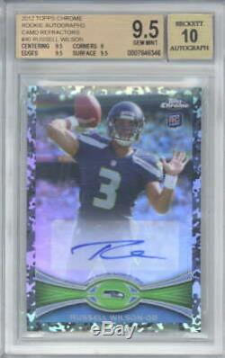 Russell Wilson Signed Auto 2012 Topps Chrome Rookie Camo Refractor #40 ID 11903
